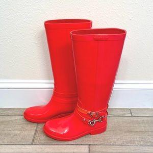 Coach Pink Lori Tall Rubber Rain Boots